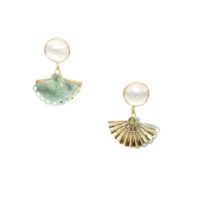 Geisha Drops | Green Jade Earrings | fan, earrings |