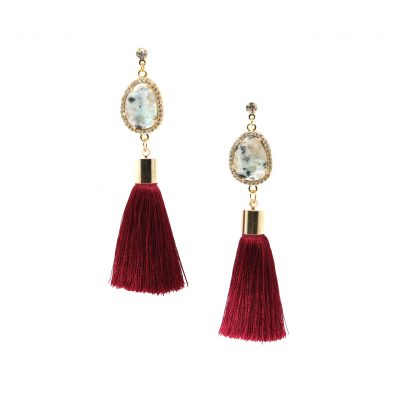 Caymus 1986 | Red Tassel Earrings | best-sellers, silk, tassel-earrings, semi-precious-earrings, earrings |