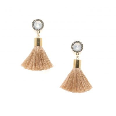 Dance Hall Daze | Taupe Tassel Earrings | cotton, tassel-earrings, earrings |