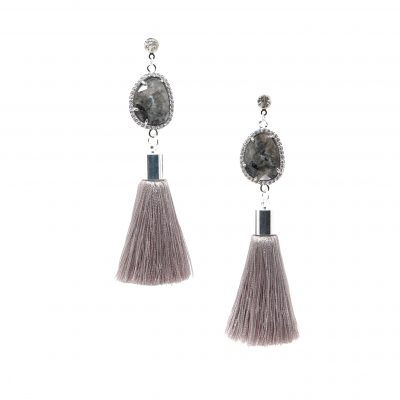 Constance | Grey Tassel Earrings | silk, tassel-earrings, earrings |