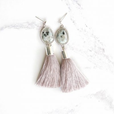 Ikigai | Grey Tassel Earrings | best-sellers, silk, tassel-earrings, earrings |