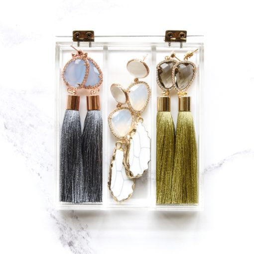 Matsu | Olive Green Tassel Earrings | tassel-earrings, silk, new-arrivals, earrings |