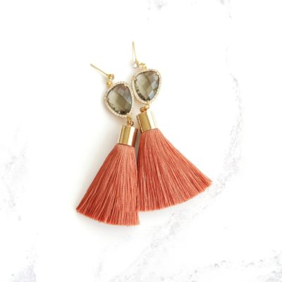 Houdini | Burnt Orange Tassel Earrings | best-sellers, silk, tassel-earrings, earrings |