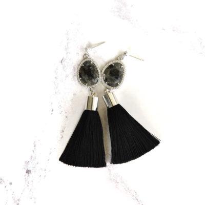 Ink | Black Tassel Earrings | tassel-earrings, silk, earrings |
