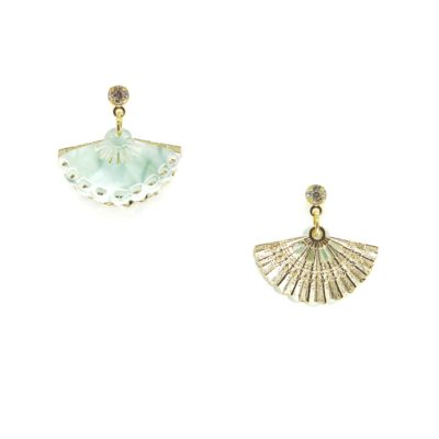 Geisha Drops IV | Green Jade Earrings | fan, earrings |