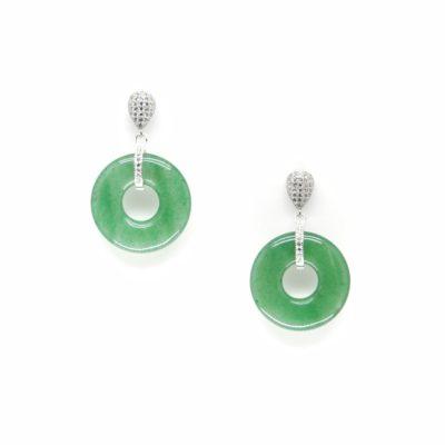 Green Jadeite Drops (Silver) | sale, jade, earrings, best-sellers |