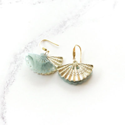 Geisha Drops III | Green Jade Earrings | best-sellers, fan, earrings |