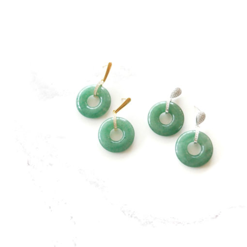 Green Jadeite Drops (Gold) | jade, semi-precious-earrings, earrings |