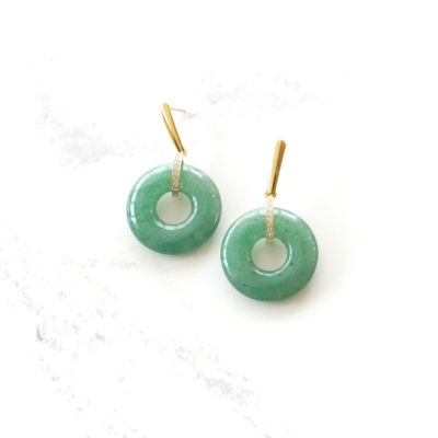 Green Jadeite Drops (Gold) | jade, semi-precious-earrings, earrings |