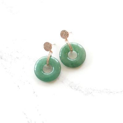 Green Jadeite Drops (Rose Gold) | jade, semi-precious-earrings, earrings |
