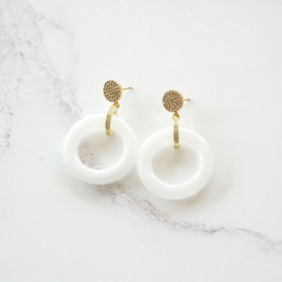 Jadeite Drops II (Gold | White Jade Earrings) | jade, semi-precious-earrings, earrings |