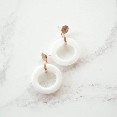 Jadeite Drops II (Rose Gold | White Jade Earrings) | jade, semi-precious-earrings, earrings |
