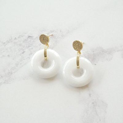 Jadeite Drops (Gold | White Jade Earrings) | jade, semi-precious-earrings, earrings |