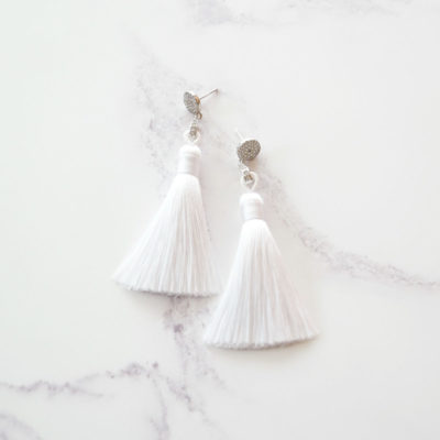 Ukiyo | White Tassel Earrings | tassel-earrings, silk, earrings |
