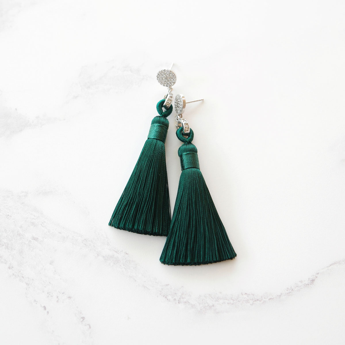 Kairos Necklace: Emerald Green Tassel Earrings