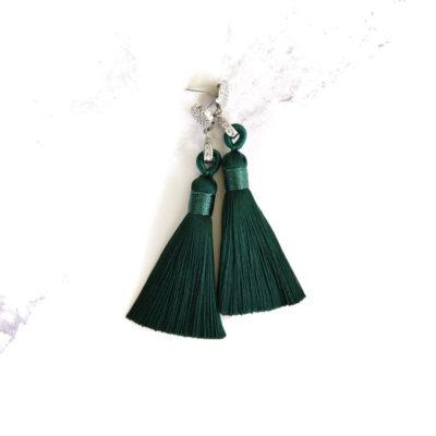 Kairos | Emerald Green Tassel Earrings | tassel-earrings, silk, earrings, best-sellers |