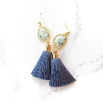 Vera | Denim Blue Tassel Earrings | best-sellers, silk, tassel-earrings, earrings |