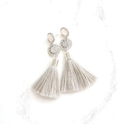 Starálfur | Grey Tassel Earrings | new-arrivals, cotton, tassel-earrings, earrings |
