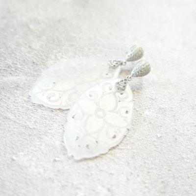 Shibui | Carved White Jade Earrings | jade, earrings, best-sellers |