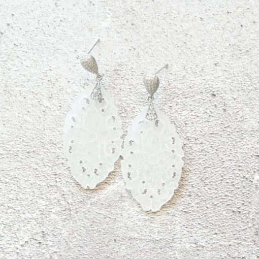 Shibui | Carved White Jade Earrings | jade, semi-precious-earrings, earrings |