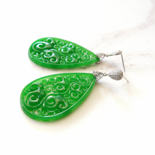 Horu | Carved Jade Drop Earrings | new-arrivals, jade, semi-precious-earrings, earrings |