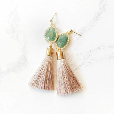 Layla | Taupe Tassel Earrings | tassel-earrings, silk, earrings, best-sellers |