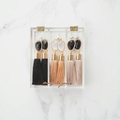 Jann | Taupe Tassel Earrings | tassel-earrings, silk, earrings |