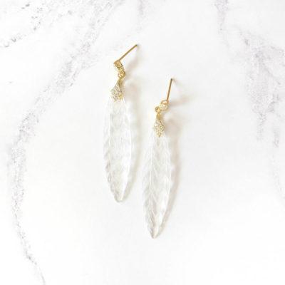 Lueur | White Quartz Glass Earrings | new-arrivals, semi-precious-earrings, earrings |
