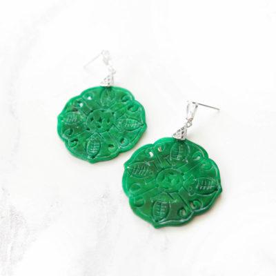 Sākuru | Carved Jade Earrings | new-arrivals, jade, earrings |