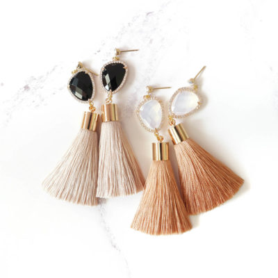 Mika | Salmon Pink Tassel Earrings | best-sellers, new-arrivals, silk, tassel-earrings, earrings |