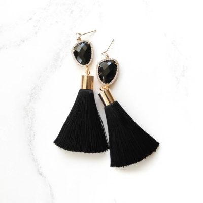 Vim | Black Tassel Earrings | tassel-earrings, silk, earrings |