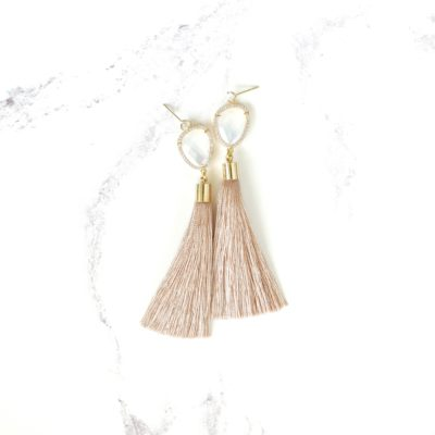 Vice | Taupe Tassel Earrings | new-arrivals, silk, tassel-earrings, earrings |