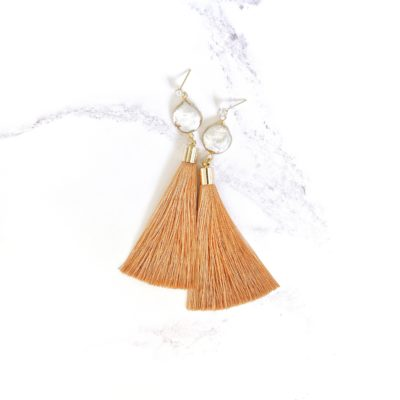 Perle | Salmon Pink Tassel Earrings | new-arrivals, silk, tassel-earrings, earrings |