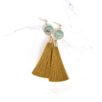 F.N.T II   Camel Tassel Earrings   new-arrivals, silk, tassel-earrings, earrings  