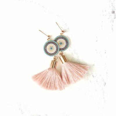 Ao | Dusty Pink Tassel Earrings | new-arrivals, cotton, tassel-earrings, earrings |