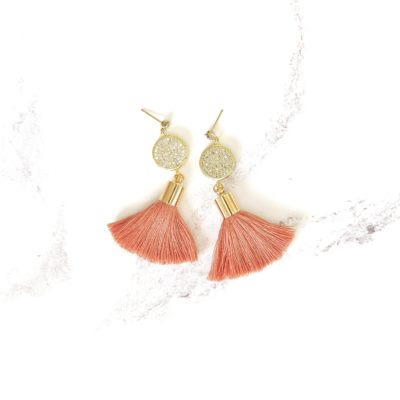 Sunday Candy | Salmon Pink Tassel Earrings | new-arrivals, cotton, tassel-earrings, earrings |