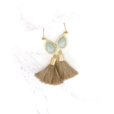 Tawny | Light Brown Tassel Earrings | new-arrivals, cotton, tassel-earrings, earrings |