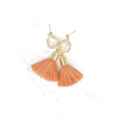 Darjeeling III | Orange Tassel Earrings | new-arrivals, cotton, tassel-earrings, earrings |