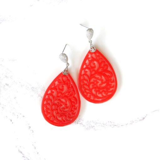 Horu II | Carved Red Jade Drop Earrings | new-arrivals, jade, semi-precious-earrings, earrings |