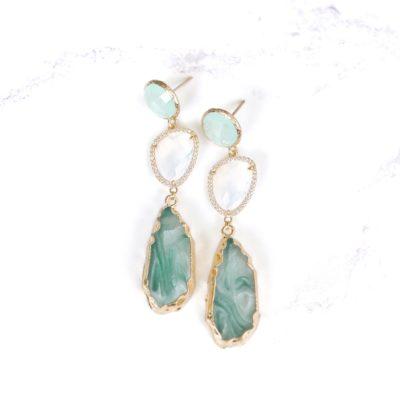 Marcelle (Blue Green) Earrings | new-arrivals, semi-precious-earrings, earrings |