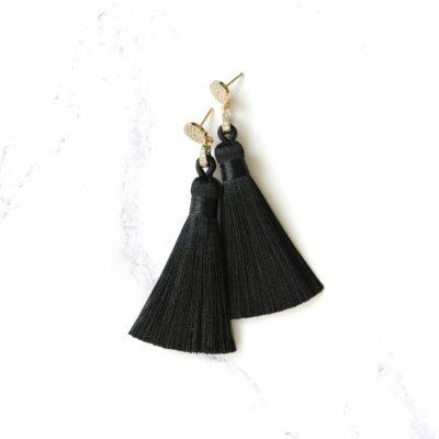 Moxie | Black Tassel (Gold) Earrings | new-arrivals, tassel-earrings, earrings |