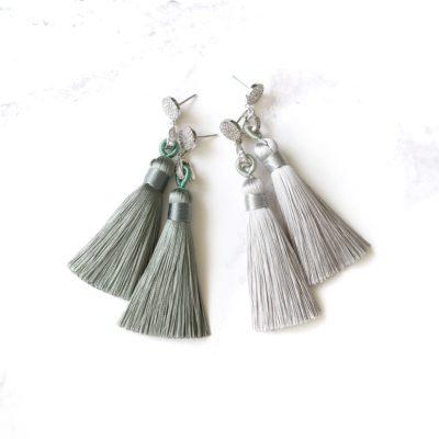 Midori | Sage Green (Silver) Tassel Earrings | new-arrivals, silk, tassel-earrings, earrings |