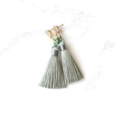 Midori | Sage Green (Gold) Tassel Earrings | new-arrivals, silk, tassel-earrings, earrings |