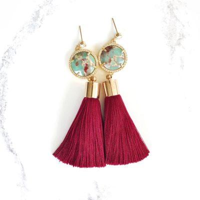 Xĭ | Red Tassel Earrings | new-arrivals, silk |