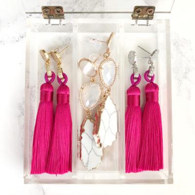 Fěn | Fuchsia Pink (Gold) Tassel Earrings | new-arrivals, silk, tassel-earrings, earrings |