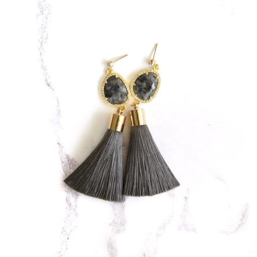 Smokescreen | Charcoal Grey Tassel Earrings | tassel-earrings, silk, new-arrivals, earrings |