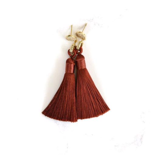 Sabi | Rust Terracotta (Gold) Tassel Earrings | tassel-earrings, silk, new-arrivals, earrings |