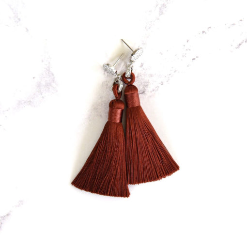 Sabi | Rust Terracotta (Silver) Tassel Earrings | tassel-earrings, silk, new-arrivals, earrings |