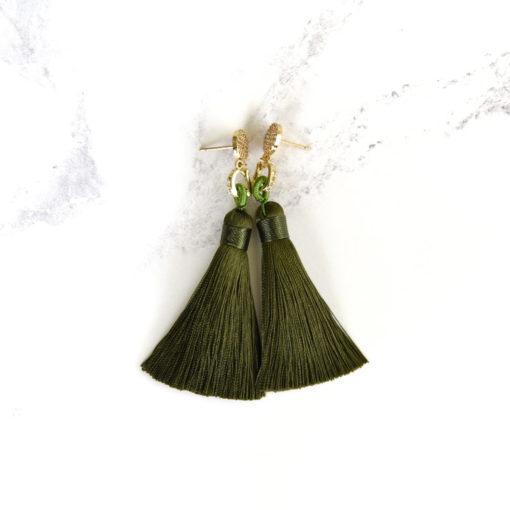 Aki | Army Green (Gold) Tassel Earrings | tassel-earrings, silk, new-arrivals, earrings |