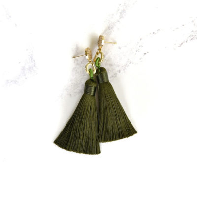 Aki | Army Green (Gold) Tassel Earrings | new-arrivals, silk, tassel-earrings, earrings |